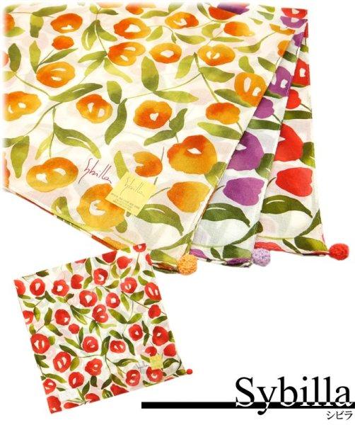 画像1: シビラ sybilla 綿ローンハンカチ ふわ花  メール便ネコポス対応 花柄 コットン 贈り物 (1)